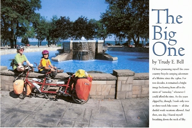 Adventure Cyclist Nov-Dec 2003 - about my 7-week 4-state bicycle camping adventure with my 9-yr-old daughter