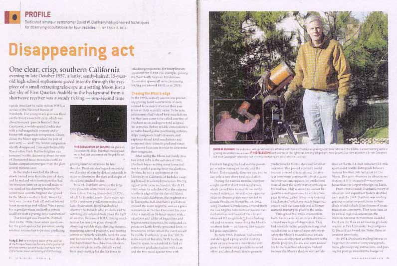 Astronomy March 2004 - profile of David W. Dunham, pioneer in calculating and observing lunar and asteroidal occultations