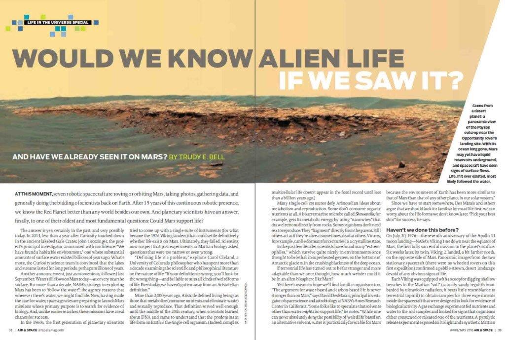 wrote lead article on searching for life on Mars for a series of articles on life in the universe for Air & Space/Smithsonian, April/May 2016