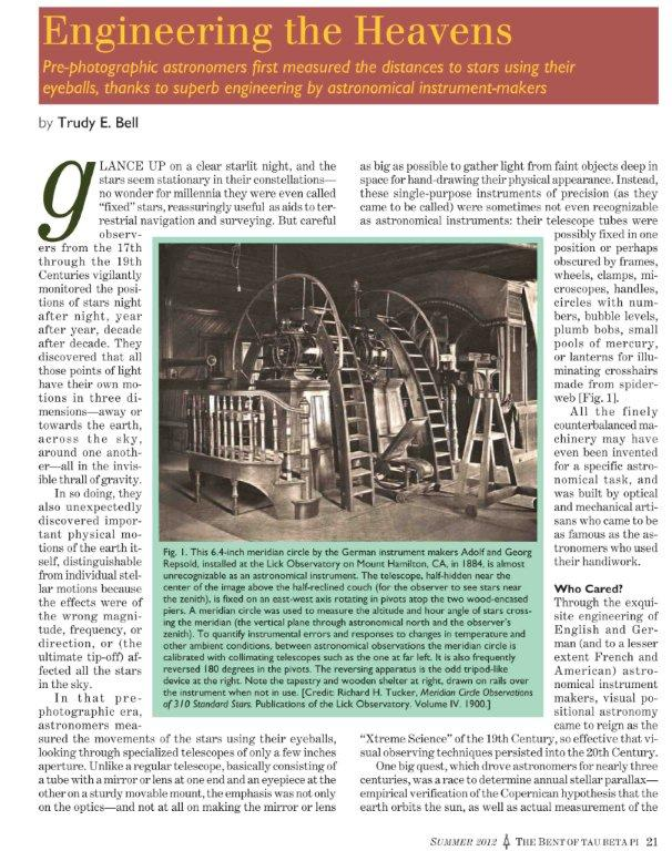 "feature article ""Engineering the Heavens"" in the Summer 2012 issue of The Bent, on how pre-photographic astronomers first measured the distances to stars using their eyeballs, thanks to superb engineering by astronomical instrument-makers"