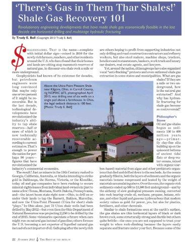 researched and wrote 7.5-page article on hydraulic fracturing - a primer on the technology and controversies, published summer 2013 in The Bent c