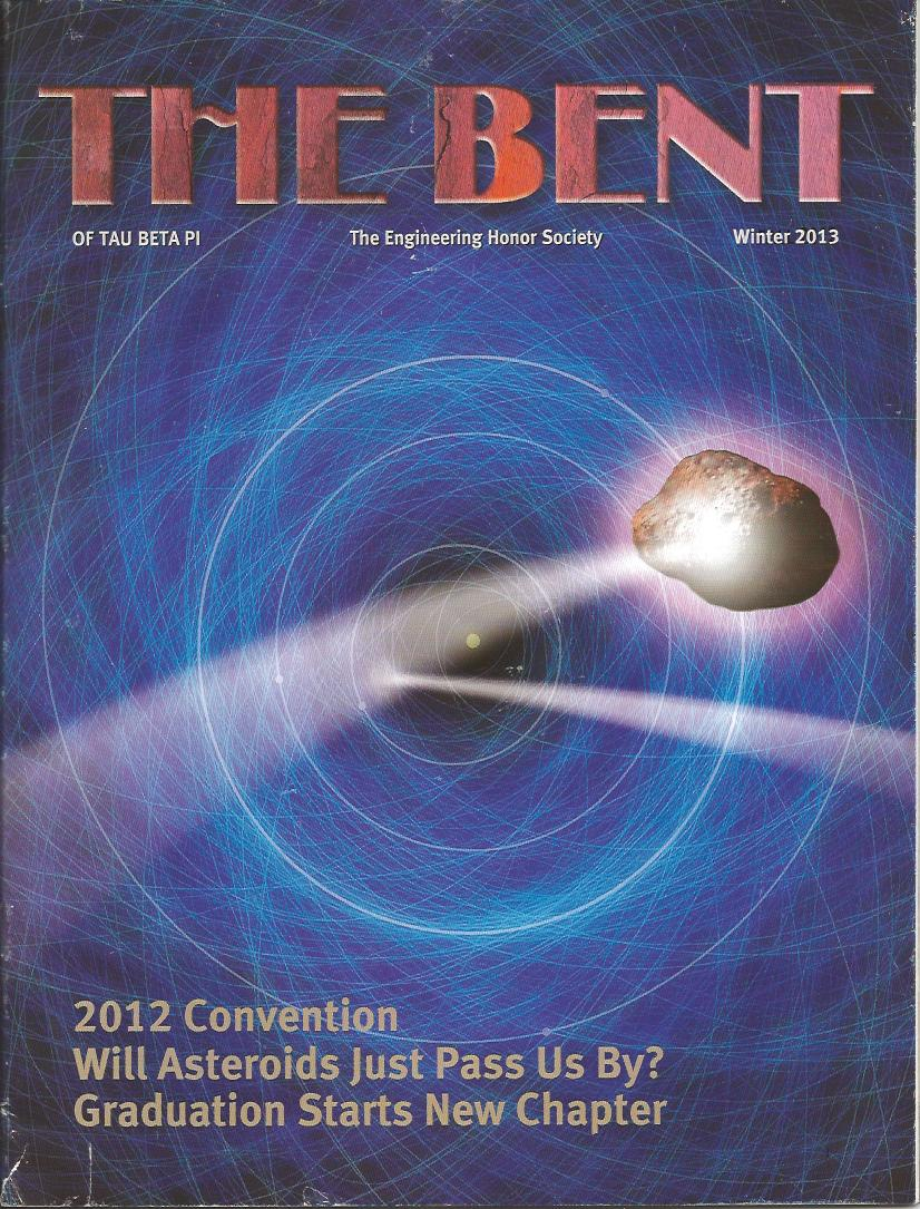 "cover feature ""Target Earth: Detecting and Avoiding Killer Asteroids,"" The Bent, Winter 2013, pp 12-16"