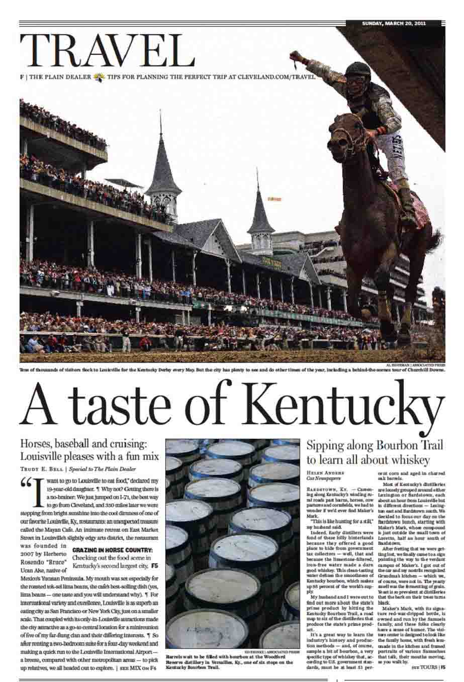 Sunday Travel cover feature on Louisville, The Plain Dealer, March 2011