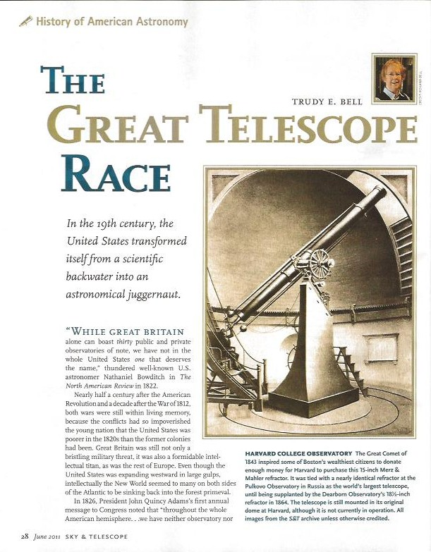 Feature article in Sky & Telescope, June 2011, on how vying for the world's largest telescope was a cultural movement, not just an astronomical one