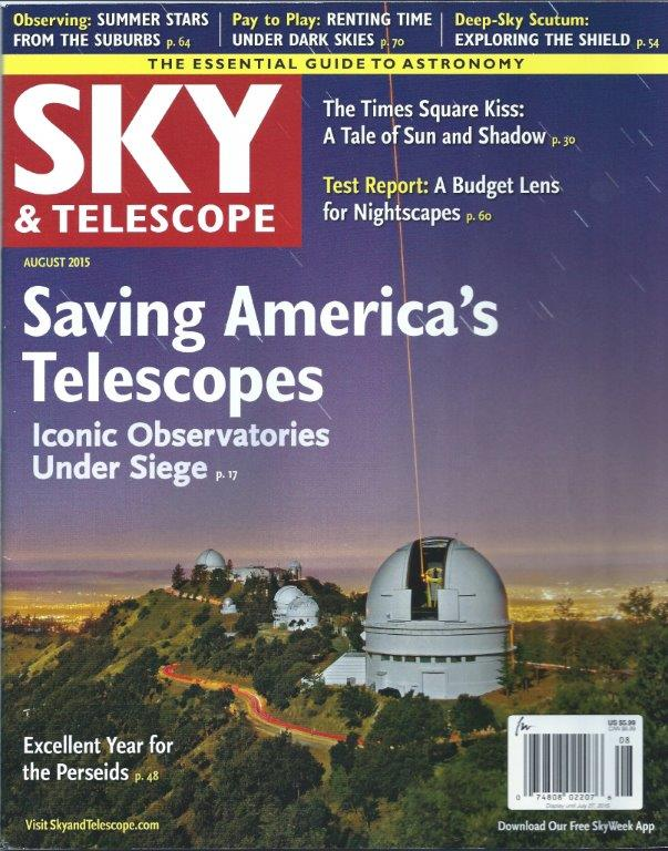 researched and wrote August 2015 Sky & Telescope cover story on Lick Observatory's near death experience