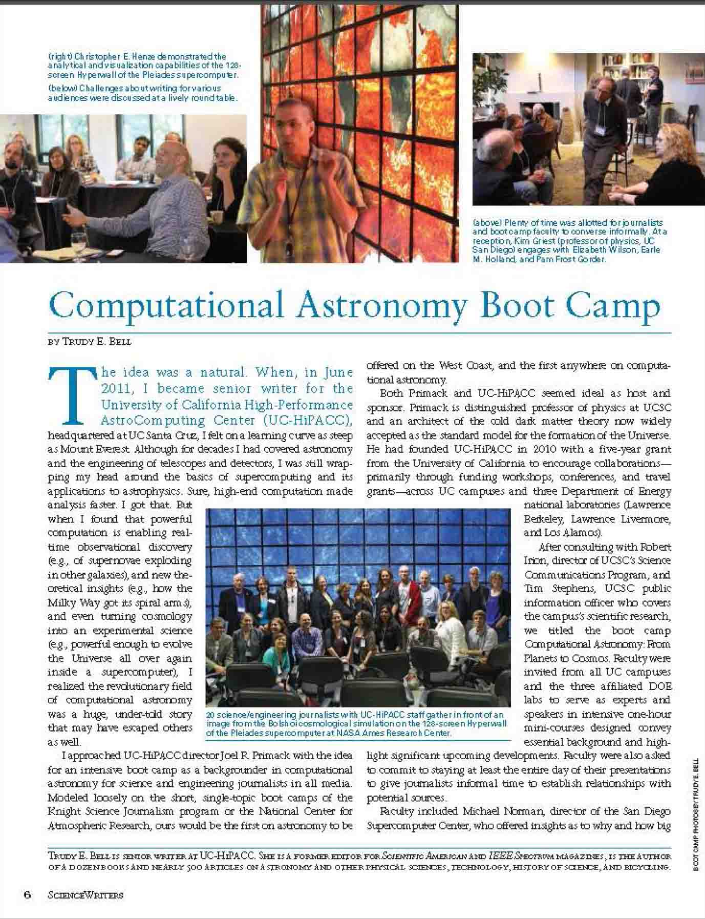 """A Computational Astronomy Boot Camp"" article in ScienceWriters for NASW Winter 2013"