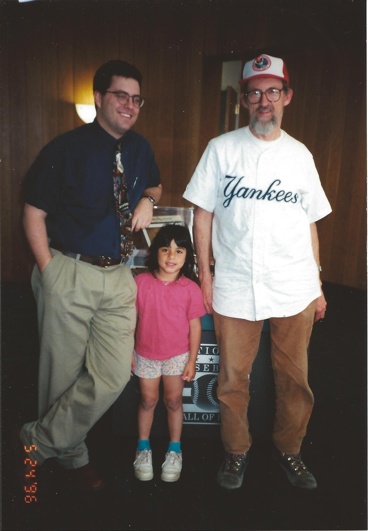 The only father Roxana ever knew: Craig on his 50th birthday (1996) with 5-yr-old Roxana and a historian at National Baseball Hall of Fame, Cooperstown, NY - by then he had lost a lot of weight (he ate well and did exercise during marriage)