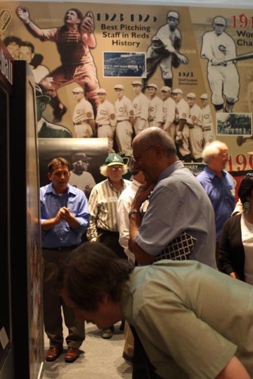 Chris Eckes (in blue at left) leadin Cincinnati Reds Hall of Fame tour