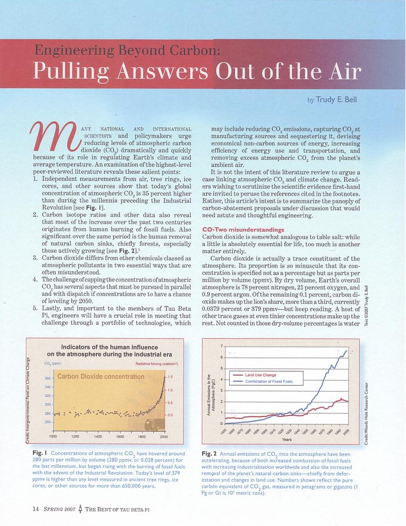 Engineering Beyond CO2, The Bent Spring 2007  - a literature review about engineering alternatives