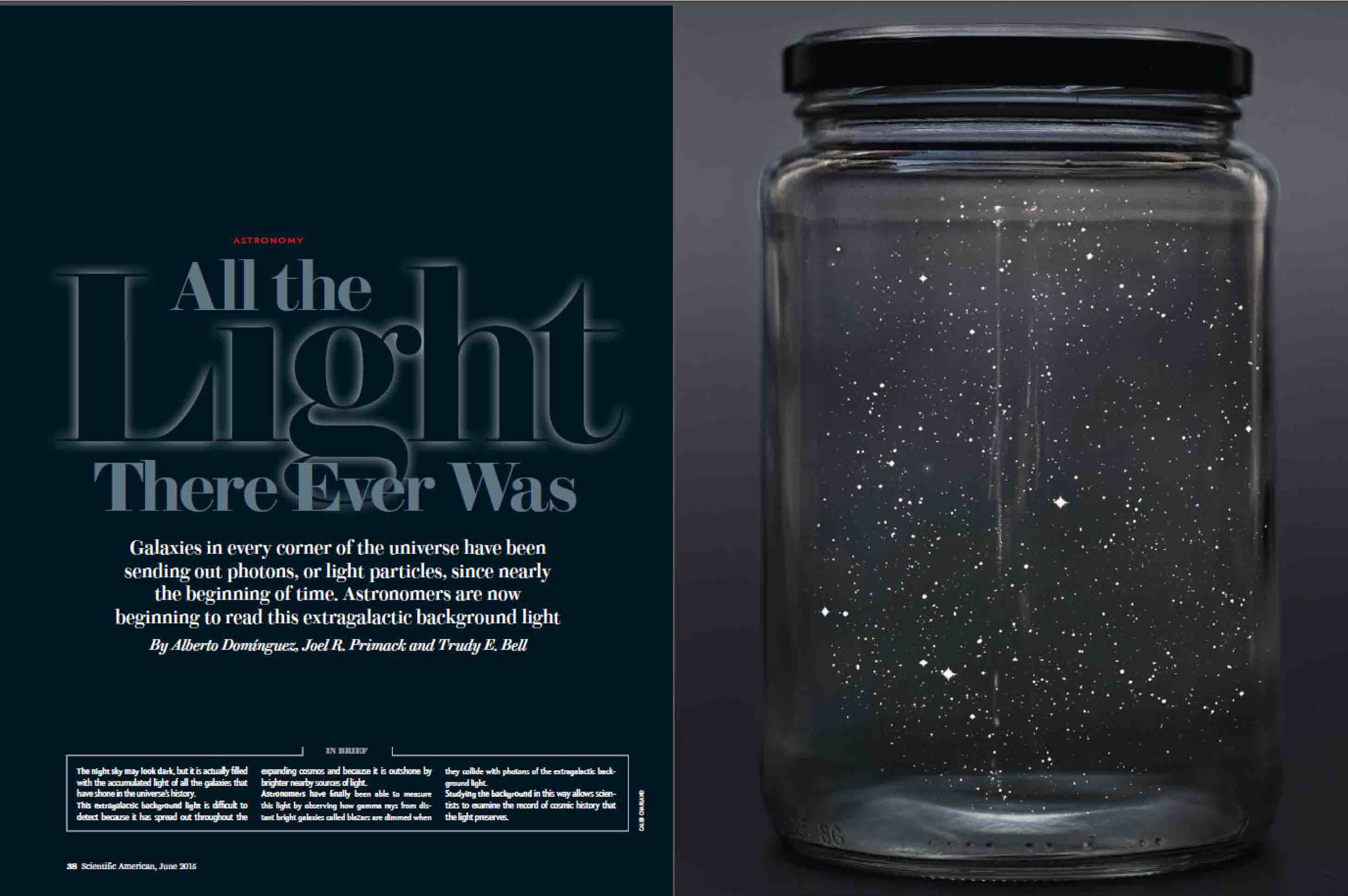 coauthored (drafted) Scientific American article on extragalactic background light for Scientific American, June 2015