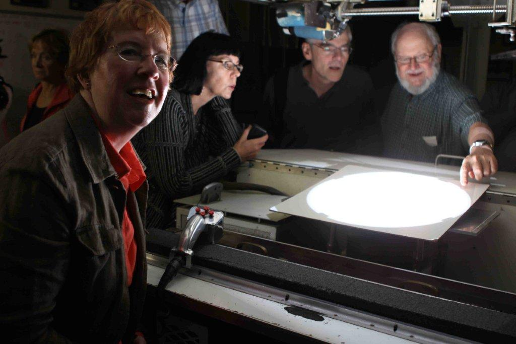 at first contact of the transit of Venus June 5, 2012, inside the 150-foot solar telescope at Mount Wilson Observatory