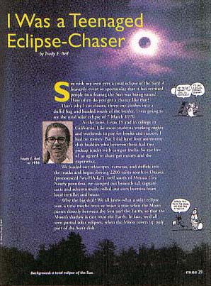 "article for kids ""I Was a Teenaged Eclipse Chaser"" about my first total solar eclipse seen at age 19, for Smithsonian/Cricket kids' magazine Muse, January 1999"