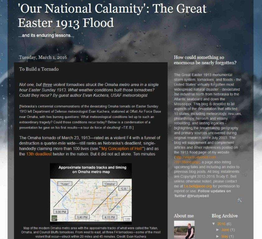 "Research blog ""'Our National Calamity': The Great Easter 1913 Flood"" gets a new research installment the first of each month, some by guest authors"