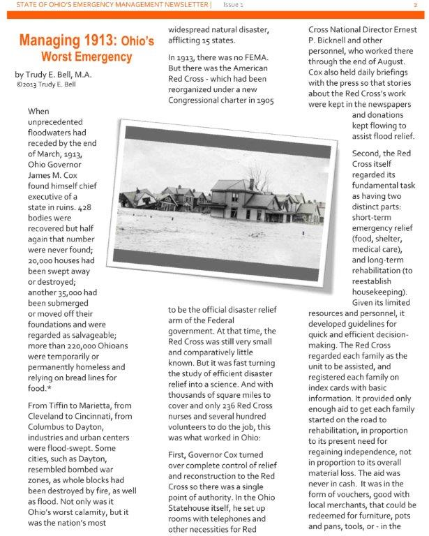"Wrote article ""Managing 1913: Ohio's Worst Emergency"" for winter 2013 issue of Ohion's Emergency Management Newsletter"