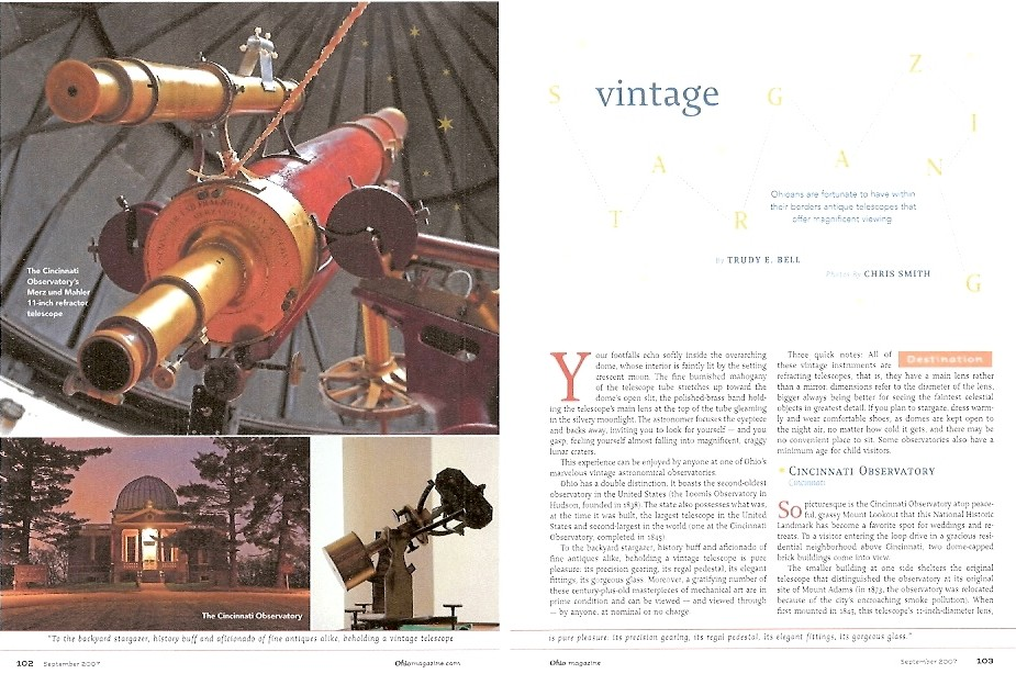 Vintage Stargazing, Ohio magazine Sept 2007 - about the 19thC astronomical observatories and telescopes around the state of Ohio open to the public