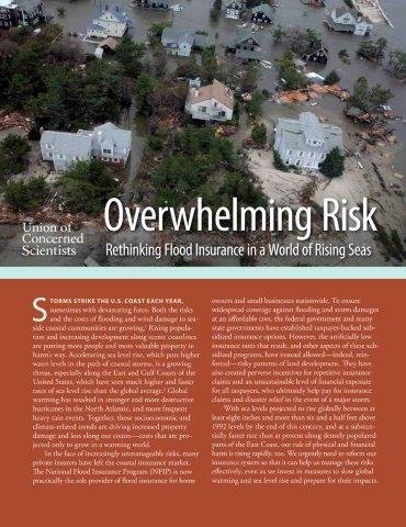 edited 30-page Union of Concerned Scientists report Overwhelming Risk: Rethinking Flood Insurance in a World of Rising Seas, published online August 13, 2013
