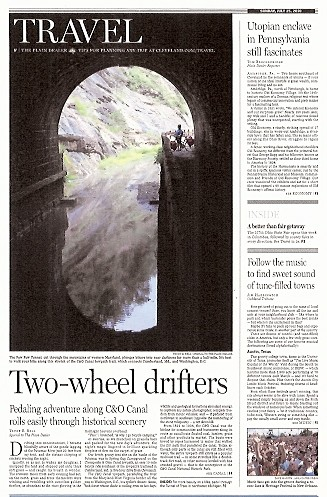 The Plain Dealer Sunday Travel July 25 2010 - front page story on bicycling the C&O Canal towpath, featuring my photographs