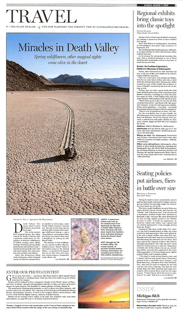 Plain Dealer Sunday Travel March 7 2010 - Miracles in Death Valley - front page travel story featuring my photographs
