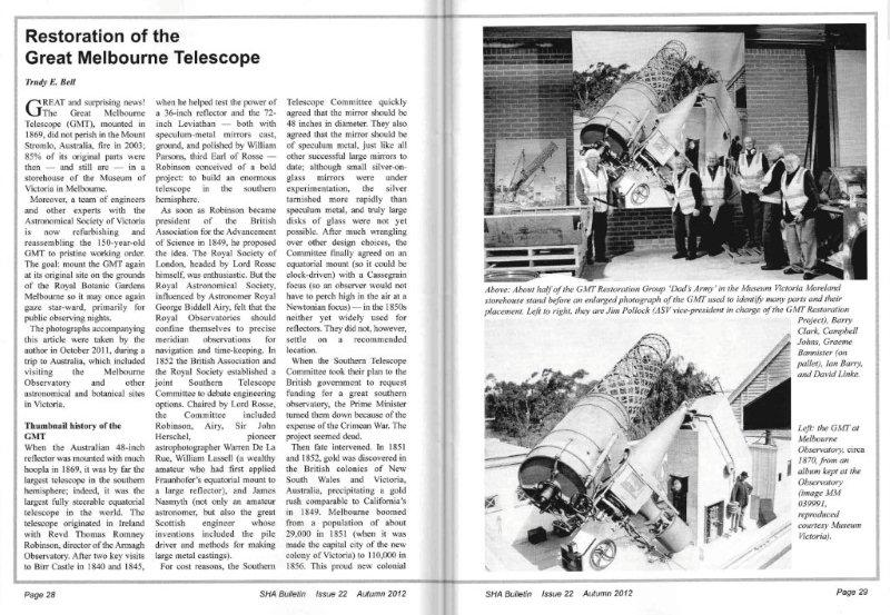"Article ""Restoration of the Great Melbourne Telescope"" (including photos from my visit to Museum Victoria in Australia) in Autumn 2012 issue of Society for the History of Astronomy Bulletin"