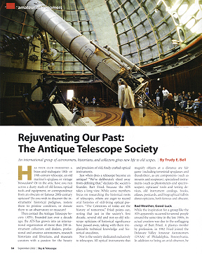 Rejuvenating Our Past: The Antique Telescope Society, Sky & Telescope, Sept 2002 - history of the ATS and its contributions to preservation its first 10 years