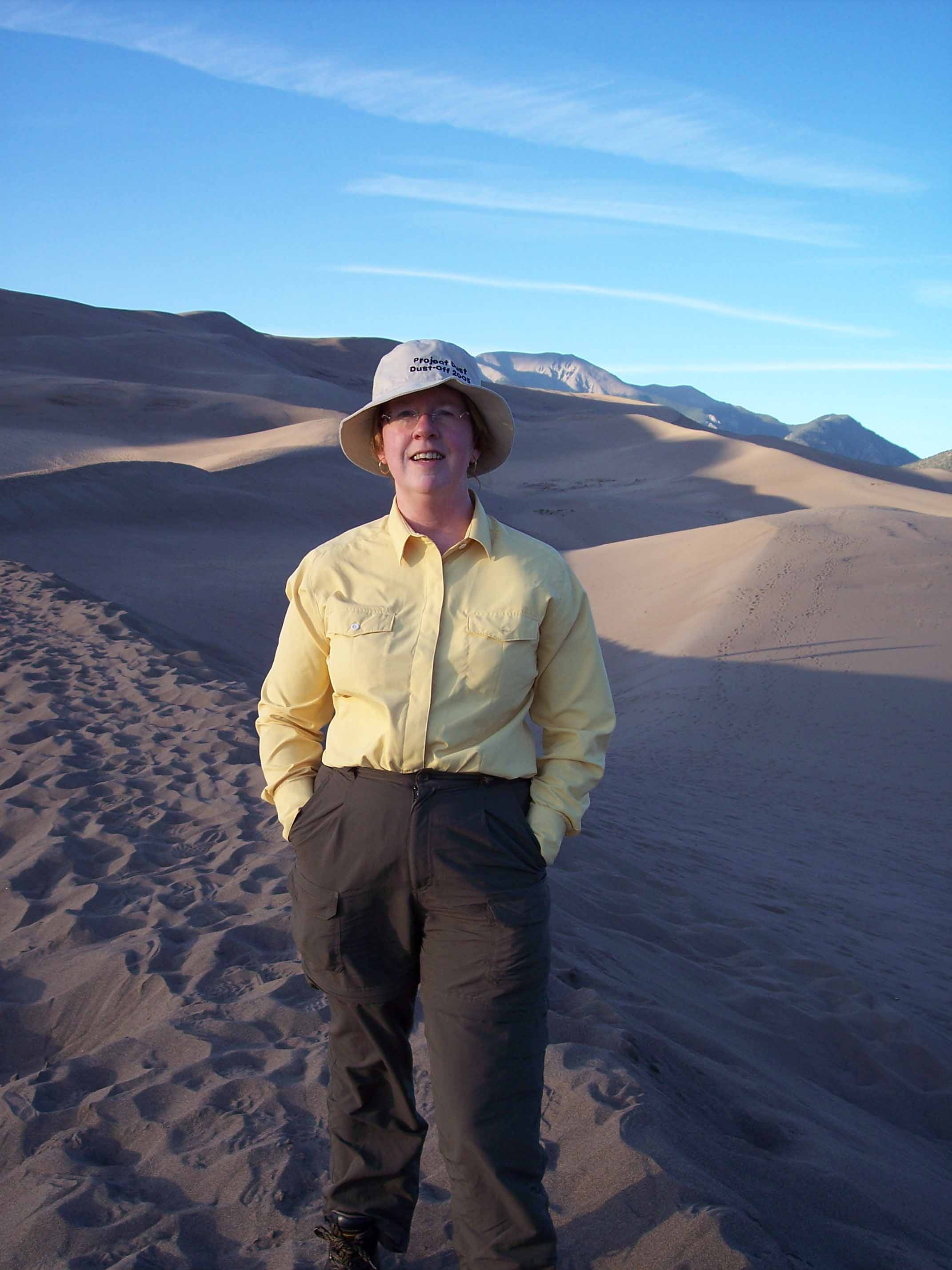 Trudy E. Bell at Great Dunes in Colorado for Air & Space article on lunar and martian dust, 2006