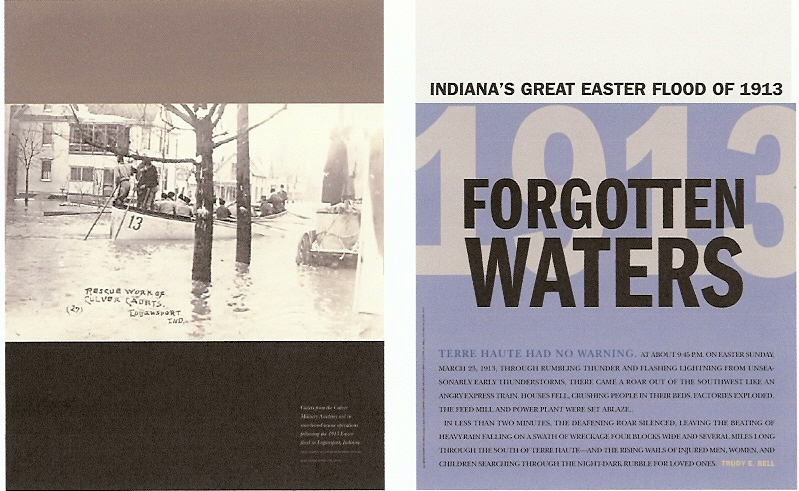 Cover story of Traces of the Indiana Historical Society, Spring 2006 - the 1913 flood was also Indiana's worst flood