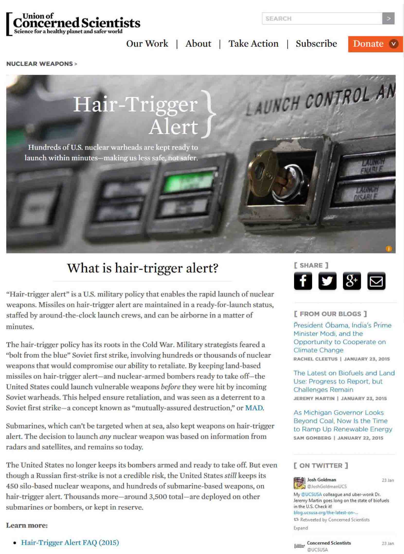 UCS web page for three 2015 factsheets I edited on nuclear weapons on hair-trigger alert