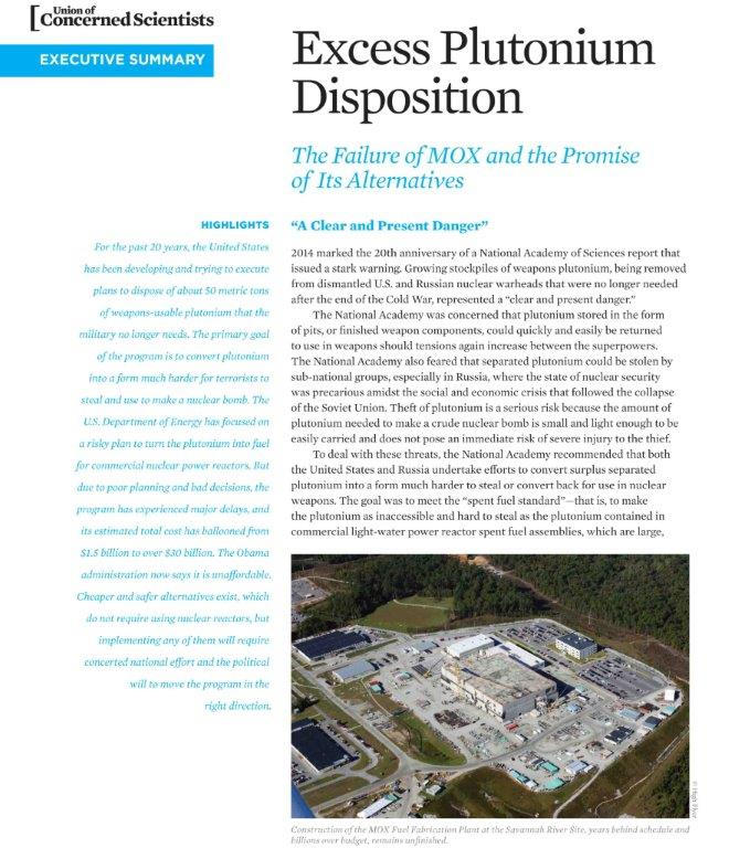 2015 UCS report I edited on Excess Plutonium Disposition, written by Edwin S. Lyman (executive summary shown)